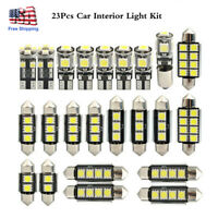 23Pcs LED White Car Lights Bulb Interior Map Dome Trunk License Plate Lamps Set