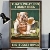Pug Drink Beer And Forget Things Funny Home Wall Art Decor Poster No Frame