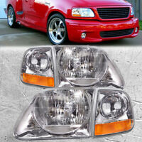Headlights 4Pc Pair w/Corner Fits Ford F150 97-02 Expedition Lightning Style
