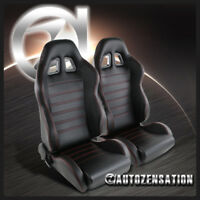 2X JDM Black PVC Leather Red Stitching Full Reclinable Racing Bucket Seats