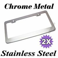 2PCS CHROME STAINLESS STEEL METAL LICENSE PLATE FRAME TAG COVER SCREW CAPS /CF-2
