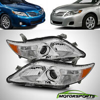 For 2010 2011 Toyota Camry Factory Style Projcetor Chrome Headlights Pair