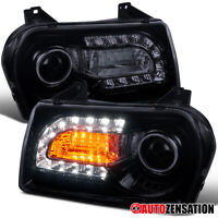 For 2005-2010 Chrysler 300 Glossy Black Smoke Projector Headlights+LED DRL Strip