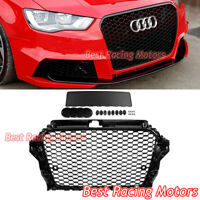 RS3 Style Front Grille (Gloss Black Frame + Mesh) Fits 14-16 Audi A3 S3 8V