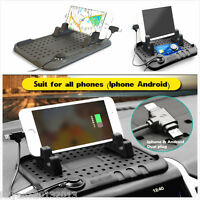 Car Phone Holder Dashboard Stand USB Magnetic Charger Cradle Non-Slip Pad Black