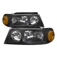 98-02 Lincoln Navigator Headlights Headlamps Pair Clear Lens Black Housing