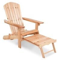Folding Home Garden Wood Adirondack Chair w/ Pull Out Footrest Ottoman Patio