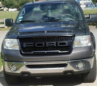 Black Front Upper Grille For Ford F150 2004-2008 ABS Mesh Hood Grill W/ Lights