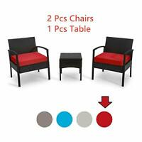 Patio Outdoor Chairs 3 Set Rattan Sofas Garden Furniture Sets Suit to Backyard