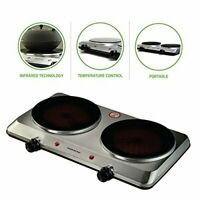 Ovente Electric Glass Infrared Countertop Burner 7.5 Inch Double Plates with