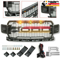 Front Grill Fits For Ford F150 2018 2019 Raptor Style W/ Amber LED Matte GRAY US
