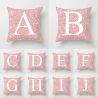 A-Z Letter Pink Square Throw Pillows Covers Home Supplies Cushion Pillow Case #9
