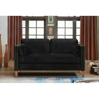 Black Modern Home Sofa Mid Century Linen Fabric Living Room Couch