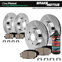 Front And Rear Drill Slot Brake Rotors Ceramic Pads For Impreza WRX Forester