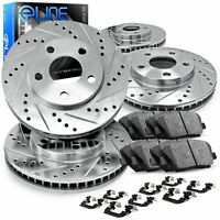 Front and Rear eLine Drilled Slotted Brake Rotors & Ceramic Brake Pad Accord,TSX