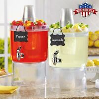 2 Pack Cold Beverage Drink Dispenser Stackable 1.75 Gallon with Chalkboard Label