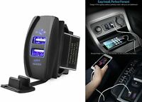 Mictuning Blue Universal Rocker Style Car USB Charger Socket New Free Shipping