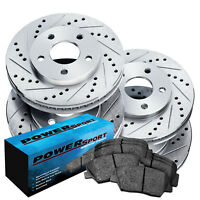 Front,Rear PowerSport Silver Drilled Slotted Brake Rotors + Ceramic Pads A2208