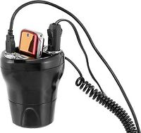 Cup holder charging station with 2 volt outlets and 2 USB ports