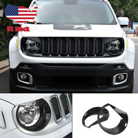 For Jeep Renegade 2015-2017 Front Head Light Cover ABS Black Bezels Angry Bird