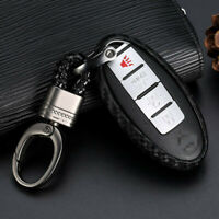 1x Carbon Fiber Styling Car Key Case For Nissan Infiniti Accessories