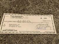 1964 SHELBY AMERICAN INC CHECK TO ROOTES MOTORS INC SUNBEAM TIGER COMPANY DEC 64