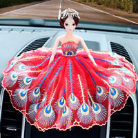Red Blue Peacock Feather Wedding Dress Dolls Car Accessories Interior Decoration