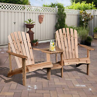 Outsunny Outdoor Tete-A-Tete  Bench Wood Adirondack Chair with Center Table