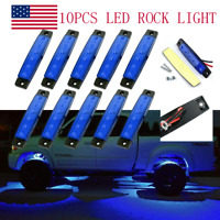 10 Pods Blue LED Rock Lights For Jeep Offroad Truck UTV ATV Boat Underbody Light