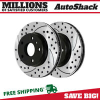 Pair of 2 Front Performance Drilled Slotted Brake Rotors Set For Infiniti Nissan
