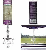 Decorative Mini Chandelier w/ Crystals Rear View Mirror Ornament Car Accessory