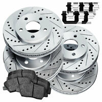 Full Kit Cross-Drilled Slotted Brake Rotors Disc and Ceramic Pads Avalon,Camry