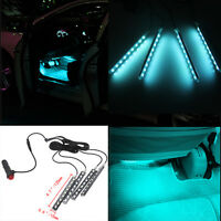 4 in 1 9 LED Ice Blue Charge Car Light Interior Atmosphere SUV Floor Strip Lamp