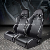 FULL RECLINABLE PVC CARBON STYLE LEATHER RACING SEATS+ADJUSTABLE SLIDERS/RAILS