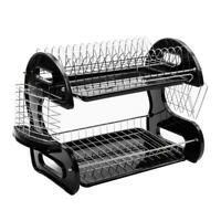 2-Tier Dish Drying Rack Stainless Steel Drainer Kitchen Storage Space Saver NEW