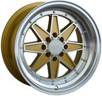 16X8 XXR538 WHEELS 4X100/114.3 +20MM MACHINED / GOLD RIM FITS HONDA DEL SO CIVIC
