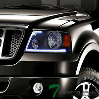 Topline For 2004-2008 Ford F150 New Lumen Optics LED Bar Black Headlights Amber