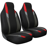 Seat Cover Set Front Integrated Bucket for Car Truck SUV - 2pc Red Gray