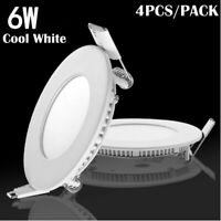 4x 6W Round LED Recessed Ceiling Panel Down Lights Bulb Lamp For Indoor Home