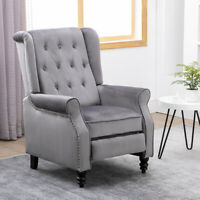 Recliner Chair Lounge Tufted Rivets Velvet Gray Sofa Living Room Furniture Gray