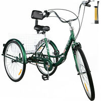 Foldable Tricycle Adult 24'' Wheels Adult Tricycle 1-Speed 3 Wheel Green Bikes