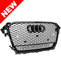 13 14 15 16 AUDI A4 S4 B8.5 RS DUAL FRAME STYLE MESH GRILLE - HIGH GLOSS BLACK