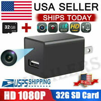 HD 1080P Hidden Mini Spy Camera Charger Adapter Home Security Night Vision 32GB
