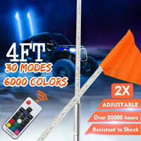 2pcs 4ft Lighted Antenna LED Whip Light w/Flag for ATV Polaris RZR 4 Wheeler
