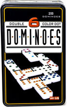 Double six colour dominoes in a tin