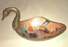 Painted brass swan candy dish
