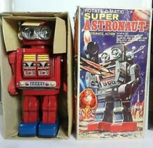 Tin and plastic toy super astronaut