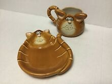 Orange tabby cat mug and plate set