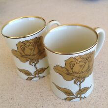 Fitz and floyd gold rose cups mugs
