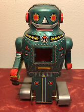 1960s tin wind up mighty robot